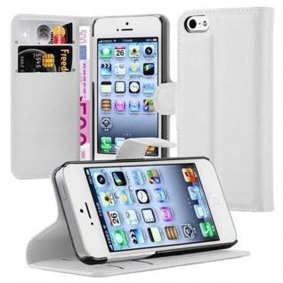 Cadorabo Hülle für Apple iPhone 5 / iPhone 5S / iPhone SE in ARKTIS WEIß - Handyhülle mit Magnetverschluss, Standfunktion und Kartenfach - Case Cover Schutzhülle Etui Tasche Book Klapp Style - Vorschau 1