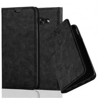 Cadorabo Hülle für Samsung Galaxy A3 2017 in NACHT SCHWARZ - Handyhülle mit Magnetverschluss, Standfunktion und Kartenfach - Case Cover Schutzhülle Etui Tasche Book Klapp Style