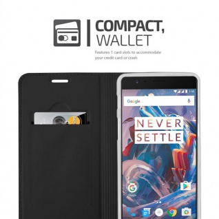 Cadorabo Hülle für OnePlus 3 / 3T in CLASSY SCHWARZ - Handyhülle mit Magnetverschluss, Standfunktion und Kartenfach - Case Cover Schutzhülle Etui Tasche Book Klapp Style - Vorschau 3