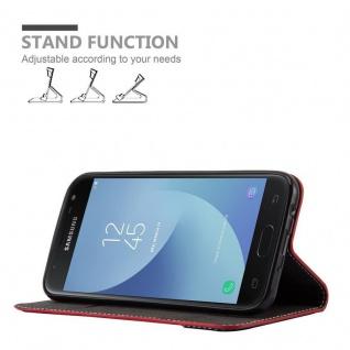 Cadorabo Hülle für Samsung Galaxy J3 2017 in ROT SCHWARZ ? Handyhülle mit Magnetverschluss, Standfunktion und Kartenfach ? Case Cover Schutzhülle Etui Tasche Book Klapp Style - Vorschau 4