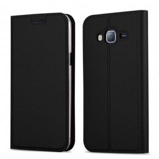 Cadorabo Hülle für Samsung Galaxy J3 2016 in CLASSY SCHWARZ - Handyhülle mit Magnetverschluss, Standfunktion und Kartenfach - Case Cover Schutzhülle Etui Tasche Book Klapp Style
