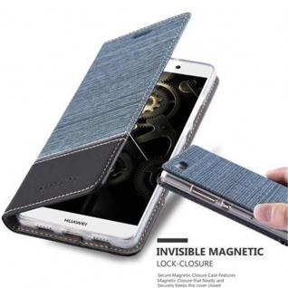 Cadorabo Hülle für Huawei P8 LITE 2015 in DUNKEL BLAU SCHWARZ - Handyhülle mit Magnetverschluss, Standfunktion und Kartenfach - Case Cover Schutzhülle Etui Tasche Book Klapp Style