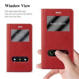 Cadorabo Hülle für Huawei P9 LITE in SAFRAN ROT - Handyhülle mit Magnetverschluss, Standfunktion und 2 Sichtfenstern - Case Cover Schutzhülle Etui Tasche Book Klapp Style - Vorschau 2
