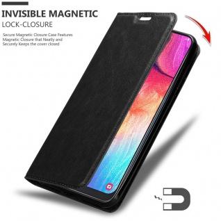 Cadorabo Hülle für Samsung Galaxy A50 in NACHT SCHWARZ - Handyhülle mit Magnetverschluss, Standfunktion und Kartenfach - Case Cover Schutzhülle Etui Tasche Book Klapp Style - Vorschau 3