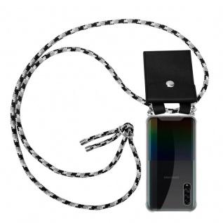 Cadorabo Handy Kette für Samsung Galaxy A90 5G in SCHWARZ CAMOUFLAGE Silikon Necklace Umhänge Hülle mit Silber Ringen, Kordel Band Schnur und abnehmbarem Etui Schutzhülle