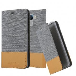 Cadorabo Hülle für Honor 7 in HELL GRAU BRAUN - Handyhülle mit Magnetverschluss, Standfunktion und Kartenfach - Case Cover Schutzhülle Etui Tasche Book Klapp Style