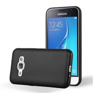 Cadorabo Hülle für Samsung Galaxy J1 2016 in METALLIC SCHWARZ - Handyhülle aus flexiblem TPU Silikon - Silikonhülle Schutzhülle Ultra Slim Soft Back Cover Case Bumper