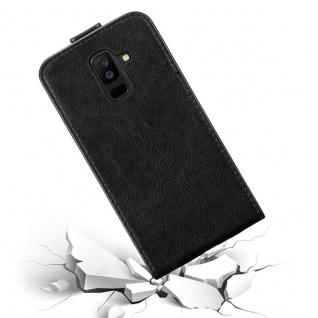 Cadorabo Hülle für Samsung Galaxy A6 PLUS 2018 in NACHT SCHWARZ - Handyhülle im Flip Design mit Magnetverschluss - Case Cover Schutzhülle Etui Tasche Book Klapp Style - Vorschau 4