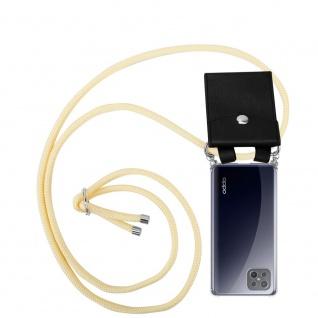 Cadorabo Handy Kette für Oppo A92s in CREME BEIGE Silikon Necklace Umhänge Hülle mit Silber Ringen, Kordel Band Schnur und abnehmbarem Etui Schutzhülle