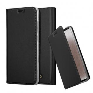 Cadorabo Hülle für WIKO VIEW in CLASSY SCHWARZ Handyhülle mit Magnetverschluss, Standfunktion und Kartenfach Case Cover Schutzhülle Etui Tasche Book Klapp Style
