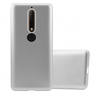 Cadorabo Hülle für Nokia 6.1 2018 in METALLIC SILBER - Handyhülle aus flexiblem TPU Silikon - Silikonhülle Schutzhülle Ultra Slim Soft Back Cover Case Bumper