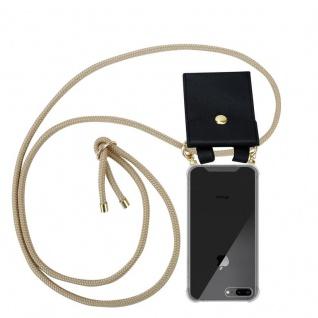 Cadorabo Handy Kette für Apple iPhone 8 PLUS / 7 PLUS / 7S PLUS in GLÄNZEND BRAUN - Silikon Necklace Umhänge Hülle mit Gold Ringen, Kordel Band Schnur und abnehmbarem Etui ? Schutzhülle