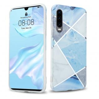 Cadorabo Hülle für Huawei P30 Hülle in Blau weiß grau Marmor No.2 Handyhülle aus TPU Silikon mit Muster Mosaik Silikonhülle Schutzhülle Ultra Slim Back Cover Case Bumper