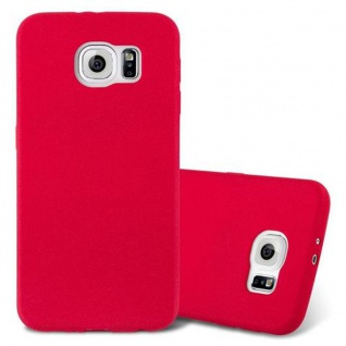 Cadorabo Hülle für Samsung Galaxy S6 in FROST ROT - Handyhülle aus flexiblem TPU Silikon - Silikonhülle Schutzhülle Ultra Slim Soft Back Cover Case Bumper