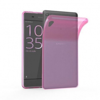 Cadorabo Hülle für Sony Xperia XA1 in TRANSPARENT PINK - Handyhülle aus flexiblem TPU Silikon - Silikonhülle Schutzhülle Ultra Slim Soft Back Cover Case Bumper