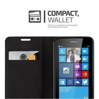 Cadorabo Hülle für Nokia Lumia 630 in NACHT SCHWARZ - Handyhülle mit Magnetverschluss, Standfunktion und Kartenfach - Case Cover Schutzhülle Etui Tasche Book Klapp Style - Vorschau 3