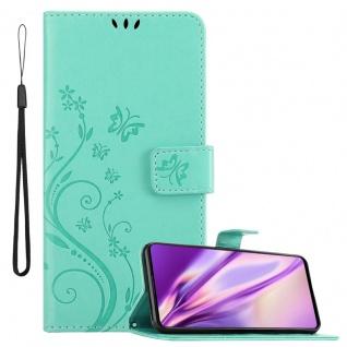 Cadorabo Hülle für Samsung Galaxy A71 in FLORAL TÜRKIS Handyhülle im Blumen Design mit Magnetverschluss, Standfunktion und 3 Kartenfächern Case Cover Schutzhülle Etui Tasche Book Klapp Style