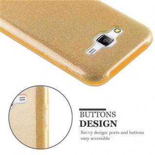 Cadorabo Hülle für Samsung Galaxy J5 2015 - Hülle in STERNENSTAUB GOLD ? TPU Silikon und Hardcase Handyhülle im Glitzer Design - Hard Case TPU Silikon Schutzhülle - Vorschau 4