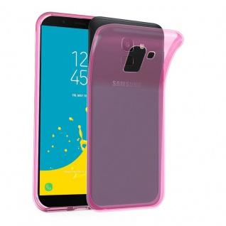 Cadorabo Hülle für Samsung Galaxy J6 2018 in TRANSPARENT PINK - Handyhülle aus flexiblem TPU Silikon - Silikonhülle Schutzhülle Ultra Slim Soft Back Cover Case Bumper