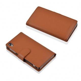 Cadorabo Hülle für Sony Xperia Z2 in COGNAC BRAUN - Handyhülle aus strukturiertem Kunstleder mit Standfunktion und Kartenfach - Case Cover Schutzhülle Etui Tasche Book Klapp Style - Vorschau 3