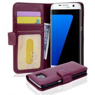 Cadorabo Hülle für Samsung Galaxy S7 EDGE in BORDEAUX LILA ? Handyhülle mit Magnetverschluss und 3 Kartenfächern ? Case Cover Schutzhülle Etui Tasche Book Klapp Style
