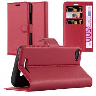 Cadorabo Hülle für WIKO JERRY 2 in KARMIN ROT - Handyhülle mit Magnetverschluss, Standfunktion und Kartenfach - Case Cover Schutzhülle Etui Tasche Book Klapp Style