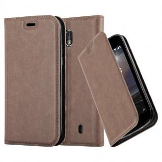 Cadorabo Hülle für Nokia 1 2017 in KAFFEE BRAUN - Handyhülle mit Magnetverschluss, Standfunktion und Kartenfach - Case Cover Schutzhülle Etui Tasche Book Klapp Style