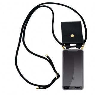 Cadorabo Handy Kette für Huawei P10 PLUS in SCHWARZ Silikon Necklace Umhänge Hülle mit Gold Ringen, Kordel Band Schnur und abnehmbarem Etui Schutzhülle