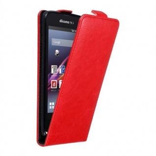 Cadorabo Hülle für Sony Xperia Z1 COMPACT in APFEL ROT - Handyhülle im Flip Design mit unsichtbarem Magnetverschluss - Case Cover Schutzhülle Etui Tasche Book Klapp Style