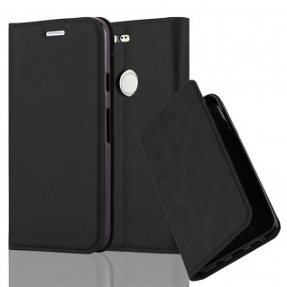 Cadorabo Hülle für Google PIXEL in NACHT SCHWARZ - Handyhülle mit Magnetverschluss, Standfunktion und Kartenfach - Case Cover Schutzhülle Etui Tasche Book Klapp Style