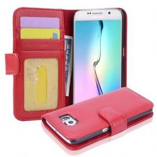 Cadorabo Hülle für Samsung Galaxy S6 in INFERNO ROT Handyhülle mit Magnetverschluss und 3 Kartenfächern Case Cover Schutzhülle Etui Tasche Book Klapp Style