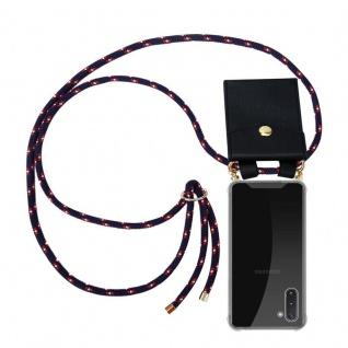 Cadorabo Handy Kette für Samsung Galaxy NOTE 10 in BLAU ROT WEISS GEPUNKTET - Silikon Necklace Umhänge Hülle mit Gold Ringen, Kordel Band Schnur und abnehmbarem Etui ? Schutzhülle