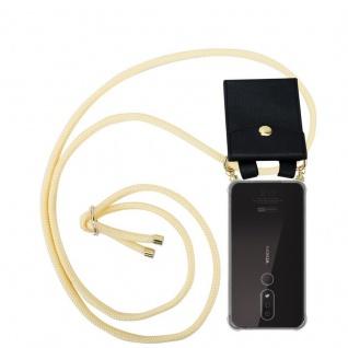 Cadorabo Handy Kette für Nokia 4.2 in CREME BEIGE Silikon Necklace Umhänge Hülle mit Gold Ringen, Kordel Band Schnur und abnehmbarem Etui Schutzhülle