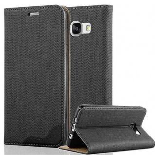 Cadorabo Hülle für Samsung Galaxy A5 2016 - Hülle in EBENHOLZ SCHWARZ ? Handyhülle in Bast-Optik mit Kartenfach und Standfunktion - Case Cover Schutzhülle Etui Tasche Book Klapp Style