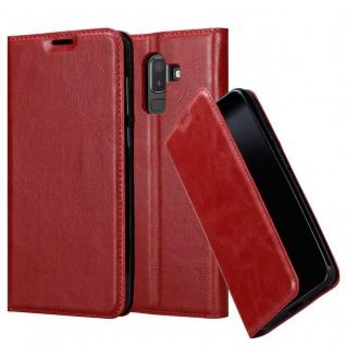 Cadorabo Hülle für Samsung Galaxy J8 2018 in APFEL ROT - Handyhülle mit Magnetverschluss, Standfunktion und Kartenfach - Case Cover Schutzhülle Etui Tasche Book Klapp Style