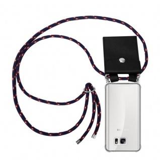 Cadorabo Handy Kette für Samsung Galaxy NOTE 5 in BLAU ROT WEISS GEPUNKTET - Silikon Necklace Umhänge Hülle mit Silber Ringen, Kordel Band Schnur und abnehmbarem Etui - Schutzhülle