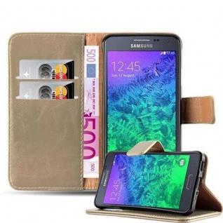 Cadorabo Hülle für Samsung Galaxy ALPHA in CAPPUCCINO BRAUN ? Handyhülle mit Magnetverschluss, Standfunktion und Kartenfach ? Case Cover Schutzhülle Etui Tasche Book Klapp Style