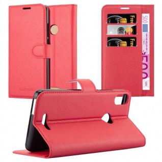 Cadorabo Hülle für WIKO VIEW MAX in KARMIN ROT Handyhülle mit Magnetverschluss, Standfunktion und Kartenfach Case Cover Schutzhülle Etui Tasche Book Klapp Style