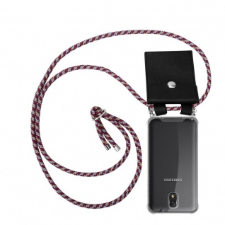 Cadorabo Handy Kette für Samsung Galaxy NOTE 3 in ROT GELB WEISS - Silikon Necklace Umhänge Hülle mit Silber Ringen, Kordel Band Schnur und abnehmbarem Etui - Schutzhülle