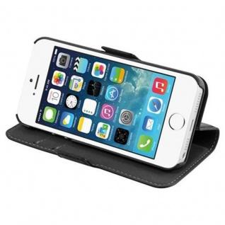 Cadorabo Hülle für Apple iPhone 5 / iPhone 5S / iPhone SE - Hülle in KOHLEN SCHWARZ - Handyhülle im 2-in-1 Design mit Standfunktion und Kartenfach - Hard Case Book Etui Schutzhülle Tasche Cover - Vorschau 3