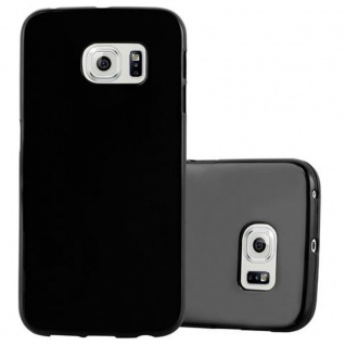 Cadorabo Hülle für Samsung Galaxy S6 EDGE in JELLY SCHWARZ ? Handyhülle aus flexiblem TPU Silikon ? Silikonhülle Schutzhülle Ultra Slim Soft Back Cover Case Bumper