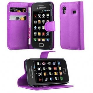 Cadorabo Hülle für Samsung Galaxy ACE 1 in MANGAN VIOLETT - Handyhülle mit Magnetverschluss, Standfunktion und Kartenfach - Case Cover Schutzhülle Etui Tasche Book Klapp Style