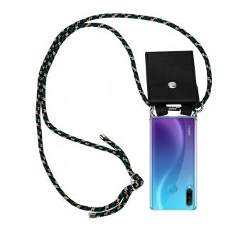 Cadorabo Handy Kette für Huawei P30 LITE in CAMOUFLAGE Silikon Necklace Umhänge Hülle mit Silber Ringen, Kordel Band Schnur und abnehmbarem Etui Schutzhülle