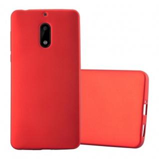 Cadorabo Hülle für Nokia 6 2017 in METALLIC ROT - Handyhülle aus flexiblem TPU Silikon - Silikonhülle Schutzhülle Ultra Slim Soft Back Cover Case Bumper - Vorschau 1