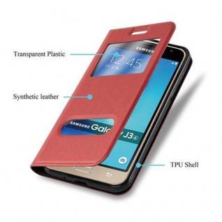 Cadorabo Hülle für Samsung Galaxy J3 / J3 DUOS 2016 in SAFRAN ROT - Handyhülle mit Magnetverschluss, Standfunktion und 2 Sichtfenstern - Case Cover Schutzhülle Etui Tasche Book Klapp Style - Vorschau 5