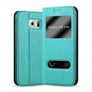 Cadorabo Hülle für Samsung Galaxy S6 in MINT TÜRKIS - Handyhülle mit Magnetverschluss, Standfunktion und 2 Sichtfenstern - Case Cover Schutzhülle Etui Tasche Book Klapp Style
