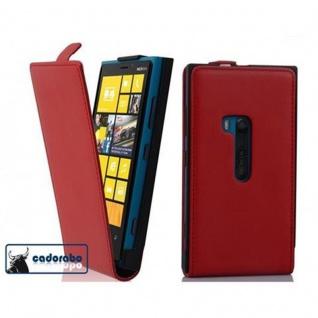 Cadorabo Hülle für Nokia Lumia 920 in CHILI ROT - Handyhülle im Flip Design aus glattem Kunstleder - Case Cover Schutzhülle Etui Tasche Book Klapp Style