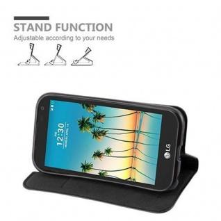 Cadorabo Hülle für LG K3 2017 in NACHT SCHWARZ - Handyhülle mit Magnetverschluss, Standfunktion und Kartenfach - Case Cover Schutzhülle Etui Tasche Book Klapp Style - Vorschau 3