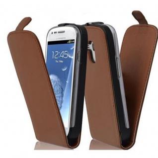 Cadorabo Hülle für Samsung Galaxy S3 MINI - Hülle in KAKAO BRAUN ? Handyhülle aus glattem Kunstleder im Flip Design - Case Cover Schutzhülle Etui Tasche