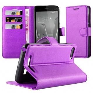 Cadorabo Hülle für WIKO LENNY 3 in MANGAN VIOLETT - Handyhülle mit Magnetverschluss, Standfunktion und Kartenfach - Case Cover Schutzhülle Etui Tasche Book Klapp Style